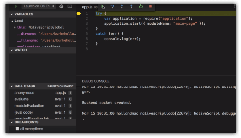nativescript vscode