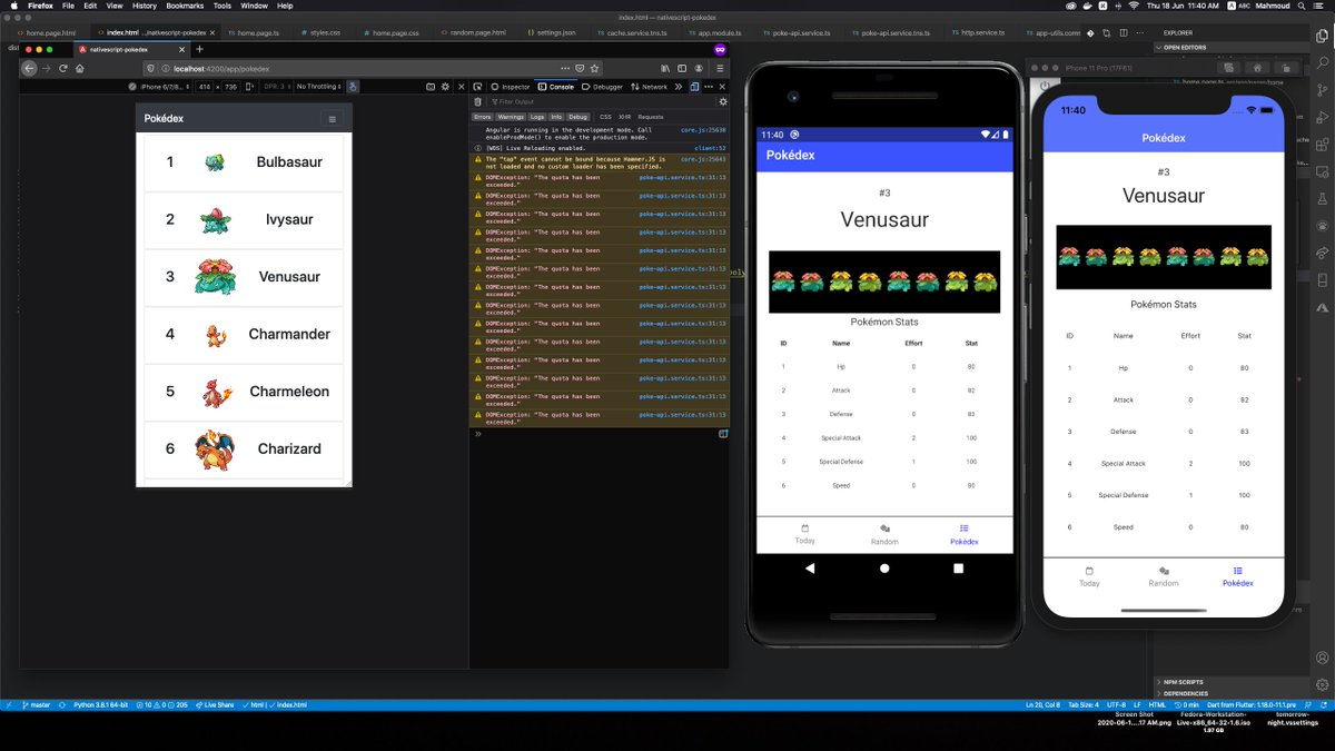 Screenshot of macOS screen with Firefox window, Android emulator, and, iOS simulator running NativeScript Pokédex proof of concept app