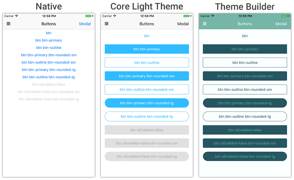 native ui using theme builder
