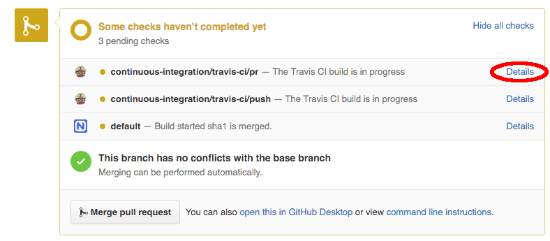 Pull Request - view build details link