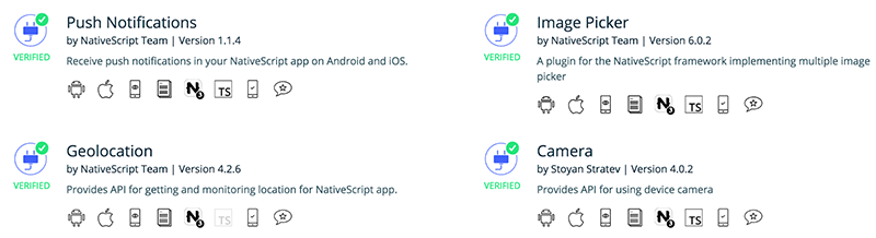 nativescript plugins