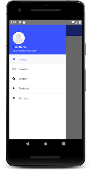 nativescript-vue drawer for android