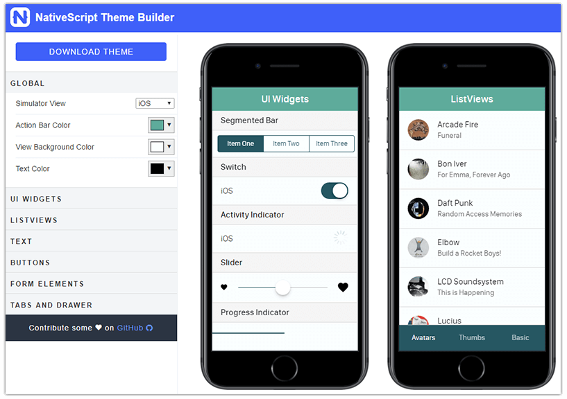 nativescript theme builder