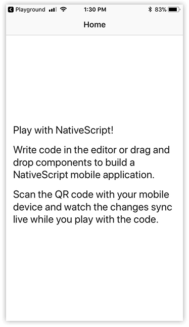 playground app running on device